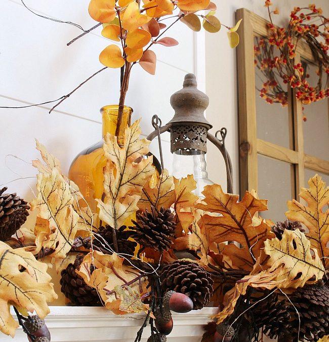 Fall Mantel Ideas – Amber and Oak Fall Mantel